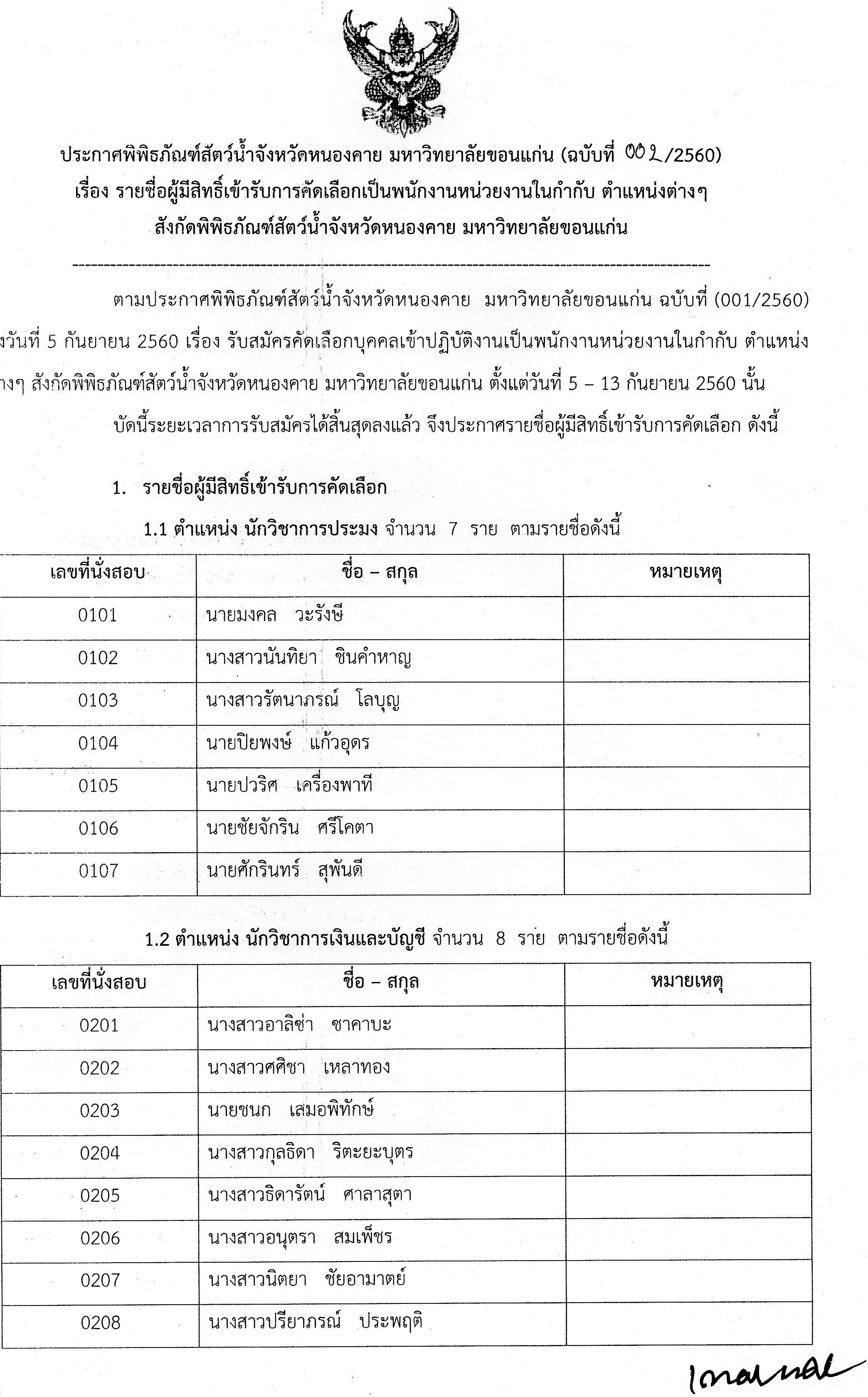 ประกาศ รายชื่อผู้มีสิทธิ์เข้ารับการคัดเลือกเป็นพนักงานหน่วยงานในกำกับ สังกัดพิพิธภัณฑ์สัตว์น้ำจังหวัดหนองคาย (ประกาศฉบับที่002/2560)