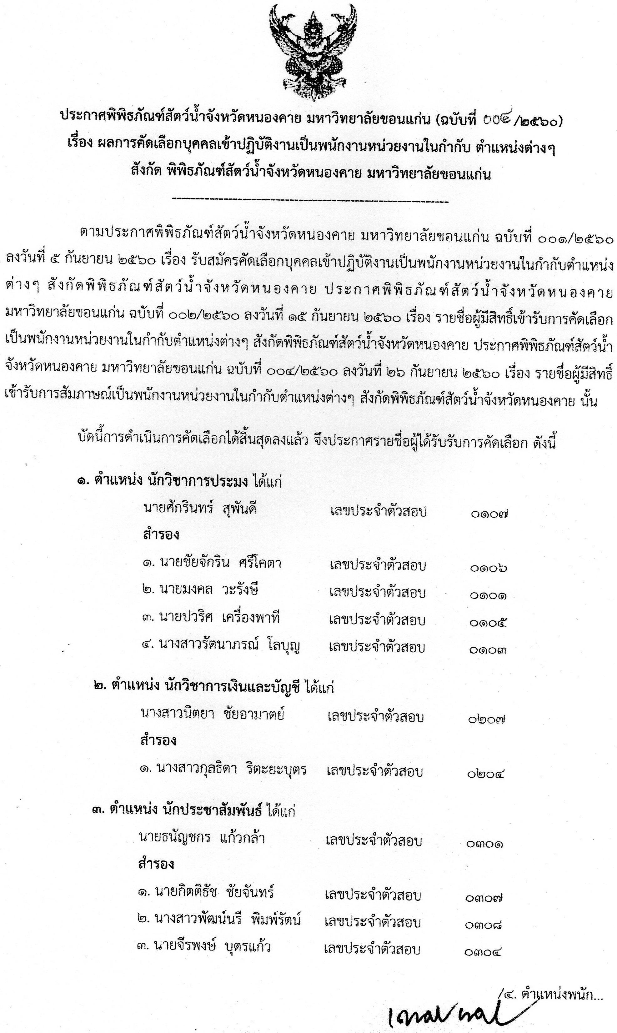 ประกาศผลการคัดเลือกบุคลเข้าปฏิบัติงานเป็นพนักงานหน่วยงานในกำกับ สังกัดพิพิธภัณฑ์สัตว์น้ำจังหวัดหนองคาย มหาวิทยาลัยขอนแก่น (ฉบับที่004/2560)